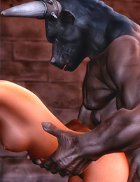 As a finishing touch, Minotaur sticks his fat, disgusting shlong in witch's tight anus.