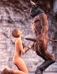 Sexy worshipper's prayers are answered as the Minotaur statue comes to life to fuck her brains out.