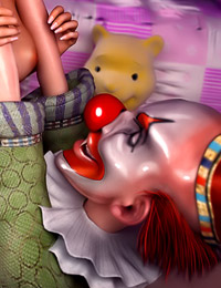 Redhead teen has her orgasmic beaver penetrated by a scary clown.