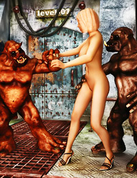 When she saw two unsightly goblins jerking off, a good looking blonde had to give them a hand.