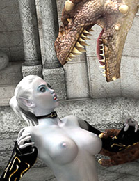 Dragon obeys the elven spell and satisfies the sorceress