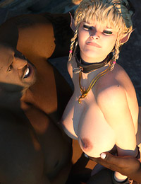 Attractive elven warrior with sexy jubes enjoys rough blowjobs and gets her asshole stuffed with black cocks