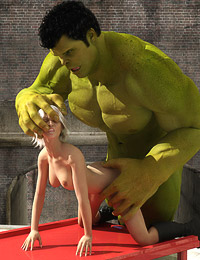 Green giant Hunk gets angry and wrecks a tight soaked pussy