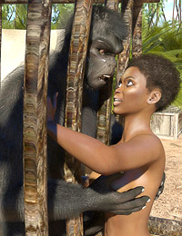 Black jungle explorer pounded by a big strong monkey man