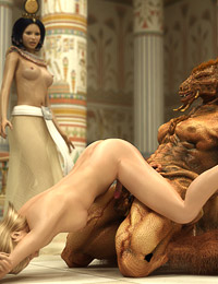 Egyptian empress subdues a blonde tgirl into weird threeway