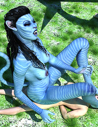 Mean bitchy Na'vi creature uses a male sub for her pleasure