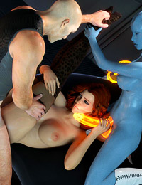 Stunning 3D action with a sexy bitch and her blue fucker