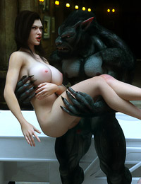 Two horny sluts with huge tits are getting rapped by an evil 3D monster