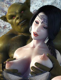 Two giant 3D ogres are making one innocent girl to squirt by fingering her tight pussy