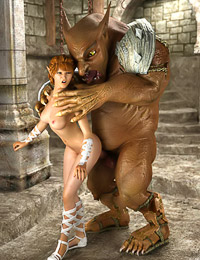 Giant ogre spills hot fresh cum all over a swarthy curvy babe