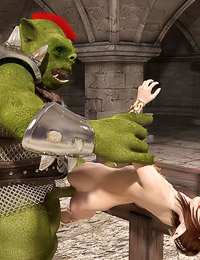 Helpless elf cutie milks thick throbbing goblin dick