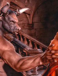 Minotaur statue comes to life in order to bang an attractive playgirl.
