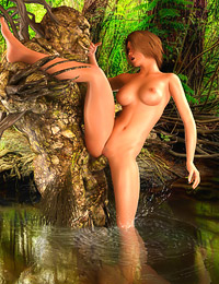 Turned on by her big boobs, an ancient forest spirit uses his transformation powers to plow a lusty babe.
