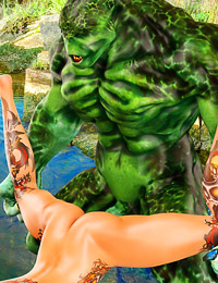 Horny repugnant mutant fingers a smokin' babe's juicy snatch in the river.